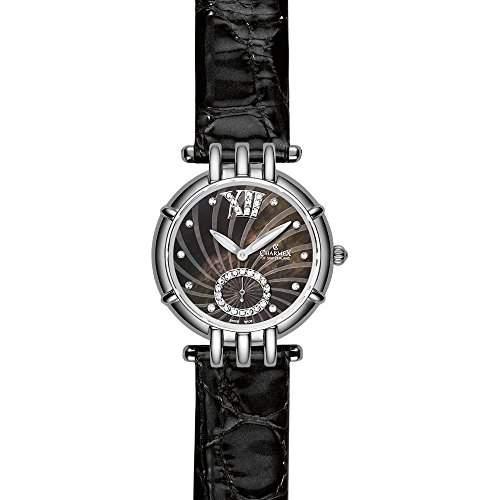 Charmex Pisa Damen 31mm Schwarz Leder Armband Edelstahl Gehaeuse Uhr 6137