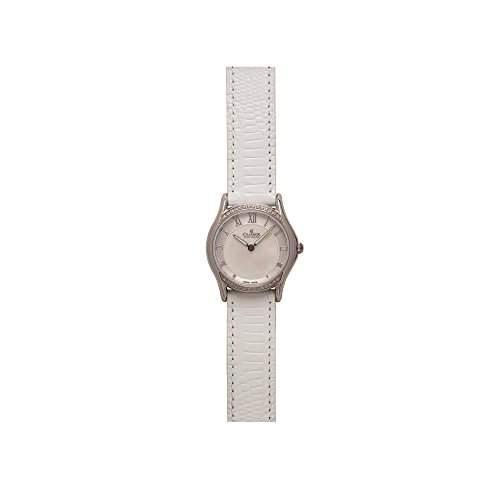 Charmex Cannes Damen 30mm Weiss Leder Armband Edelstahl Gehaeuse Uhr 6330