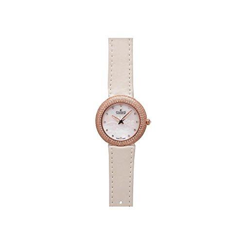 Charmex Las Vegas Damen 35mm Weiss Leder Armband Edelstahl Gehaeuse Uhr 6295