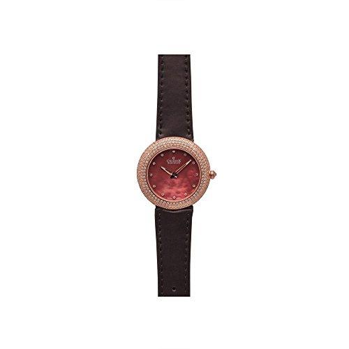 Charmex Las Vegas Damen 35mm Braun Leder Armband Edelstahl Gehaeuse Uhr 6298