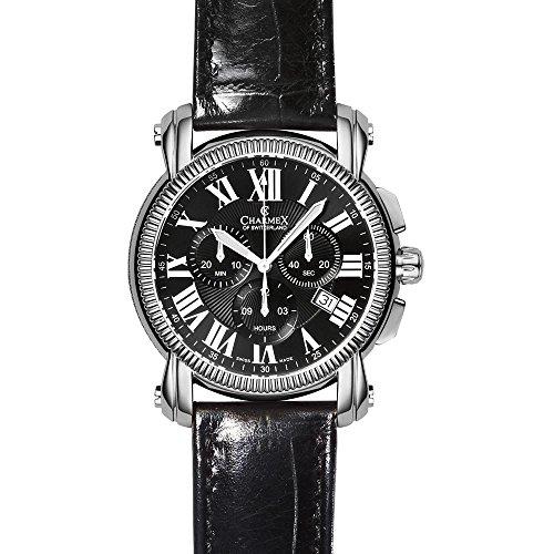 Charmex Aspen Herren 42mm Chronograph Schwarz Leder Armband Datum Uhr 2451