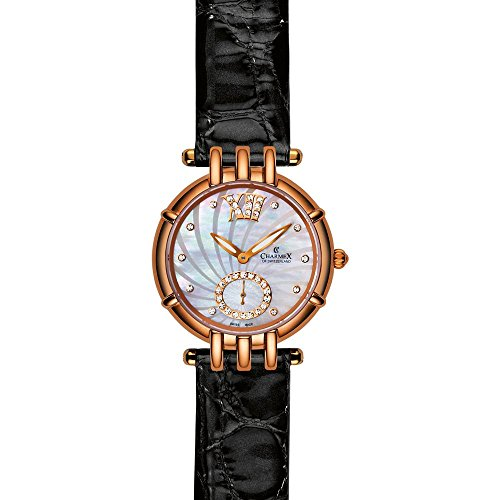 Charmex Pisa Damen 31mm Schwarz Leder Armband Uhr 6126