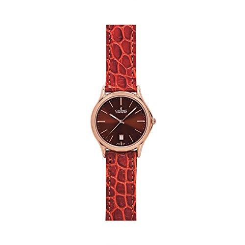 Charmex Madison Ave Herren 40mm Braun Leder Armband Edelstahl Gehaeuse Uhr 2712