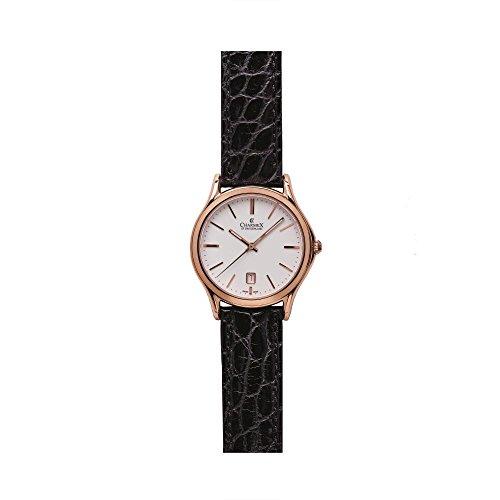 Charmex Madison Ave Herren 40mm Schwarz Leder Armband Edelstahl Gehaeuse Uhr 2710