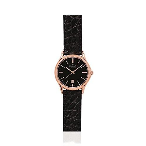 Charmex Madison Ave Herren 40mm Schwarz Leder Armband Edelstahl Gehaeuse Uhr 2711