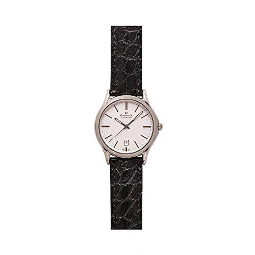 Charmex Madison Ave Herren 40mm Schwarz Leder Armband Edelstahl Gehaeuse Uhr 2715