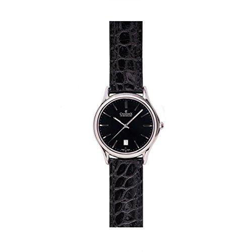 Charmex Madison Ave Herren 40mm Schwarz Leder Armband Edelstahl Gehaeuse Uhr 2716