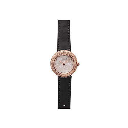 Charmex Las Vegas Damen 35mm Schwarz Leder Armband Edelstahl Gehaeuse Uhr 6296