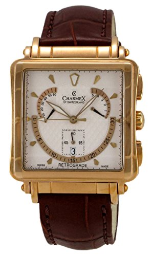 Charmex of Switzerland Le Mans Retro Rose Gold Plated Steel Mens Watch White Dial 2225