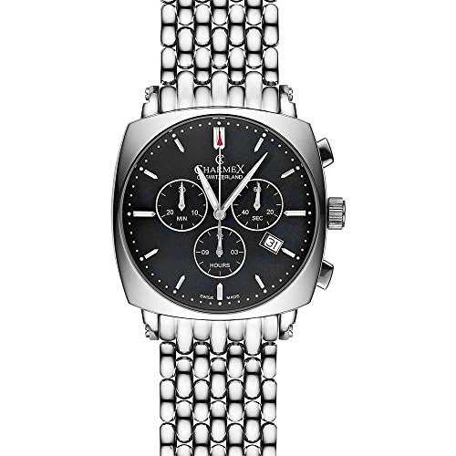 Charmex Vintage Herren Chronograph Silber delstahl Armband Gehaeuse Uhr 2431