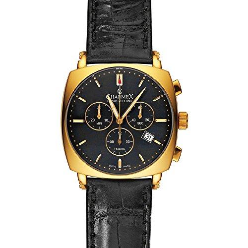 Charmex Vintage Schwarz Leder Armband Datum Uhr 2421