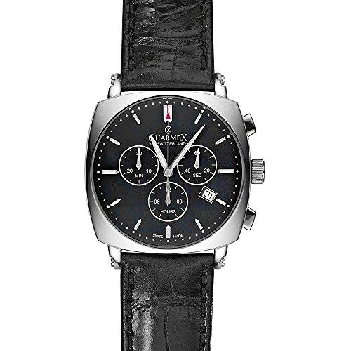 Charmex Vintage Schwarz Leder Armband Datum Uhr 2426