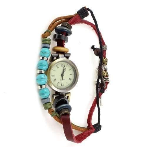 sourcingmap® Minderheit Retro Style Handgefertigte Flechten Straenge Armbanduhr Armbanduhr