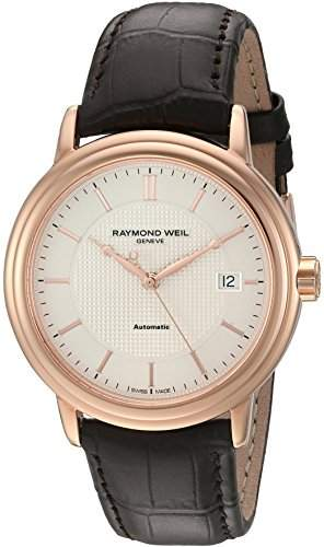 Raymond Weil Maestro Silver Dial Brown Leather Automatic Mens Watch 2837-PC5-65001