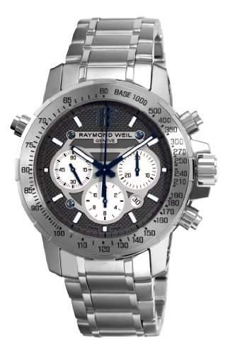 Raymond Weil Herren-Armbanduhr Automatik mit grau Zifferblatt Chronograph-Anzeige und Silber Edelstahl Armband 7800-ti-05607