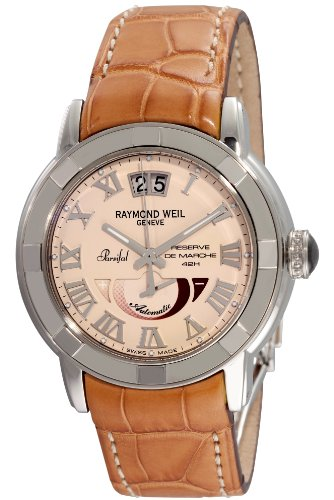 RAYMOND WEIL PARSIFAL MENS AUTOMATIC BROWN LEATHER DATE UHR 2843 STC 00808