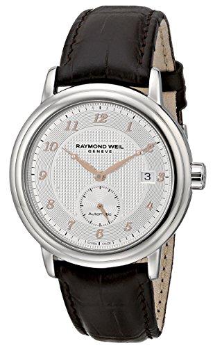 Raymond Weil Herren Maestro 40 mm schwarz Echt Leder Band Edelstahl Fall Automatische Datum Armbanduhr 2838 sl5 05658