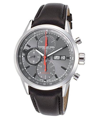 Raymond Weil Freelancer Herren Armbanduhr 42mm Armband Leder Schwarz Schweizer Automatik 7730 STC 60112