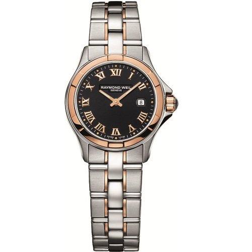 Raymond Weil Damen Automatik Uhr mit schwarzem Zifferblatt Analog Anzeige und Silber Edelstahl vergoldet Armband 9460 sg5 00208