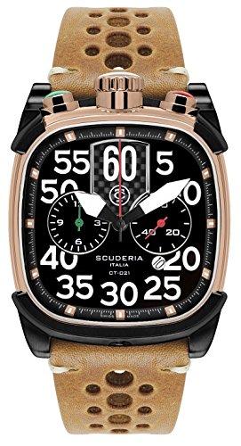 CT Scuderia Armband Leder Gehaeuse Gold beschichtetes Edelstahl Schweizer Quarz CS70103N