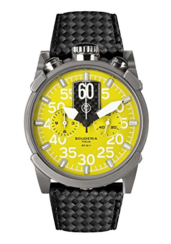 CT Scuderia Herren Armbanduhr 44mm Armband Leder Schwarz Gehaeuse Edelstahl Schweizer Quarz CS10113N