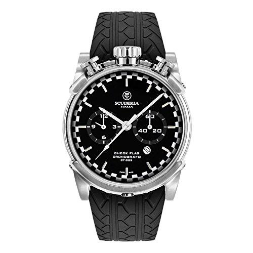 CT Scuderia Herren Armbanduhr 44mm Armband Silikon Schwarz Gehaeuse Edelstahl Schweizer Quarz CS10155