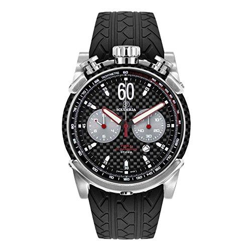 CT Scuderia Herren Armbanduhr 44mm Armband Silikon Schwarz Gehaeuse Edelstahl Schweizer Quarz CS10161