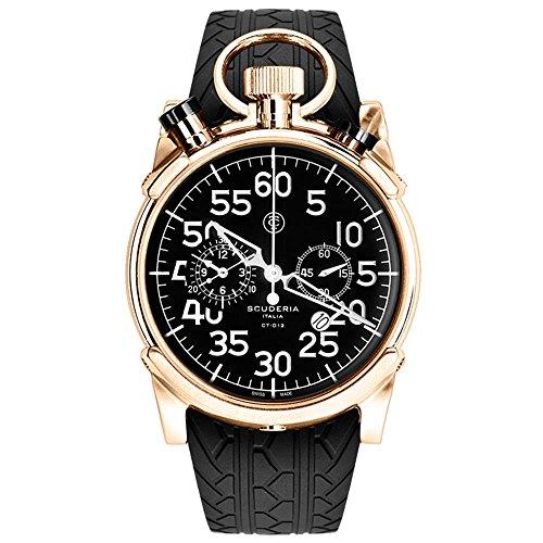 CT Scuderia Herren Armbanduhr 44mm Armband Silikon Schwarz Saphirglas Schweizer Quarz Analog CS20117
