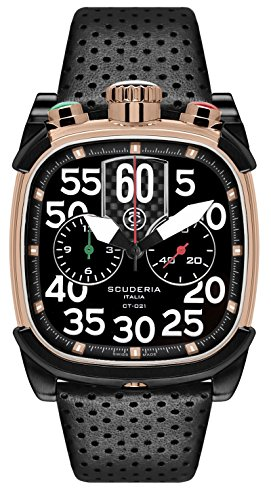 CT Scuderia Armband Leder Schwarz Saphirglas Schweizer Quarz Analog CS70103 BK