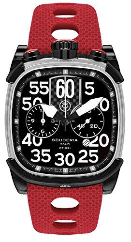 CT Scuderia Herren Armbanduhr Armband Silikon Lila Gehaeuse Edelstahl Saphirglas Schweizer Quarz CS70104N