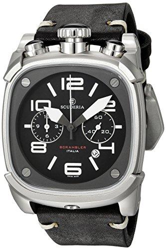 CT Scuderia Herren Armbanduhr Armband Leder Schwarz Gehaeuse Edelstahl Saphirglas Schweizer Quarz CS70111N
