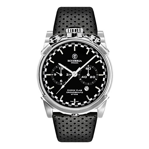 CT Scuderia Herren Armbanduhr 44mm Armband Leder Gehaeuse Vergoldetes Edelstahl Schweizer Quarz CS10134