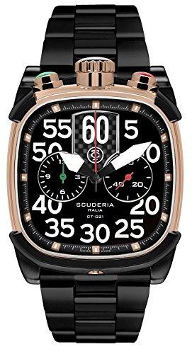 CT Scuderia Herren Armbanduhr Armband Vergoldetes Edelstahl Schwarz Saphirglas Schweizer Quarz CS70103 BR