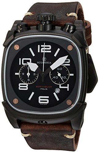 CT Scuderia Armband Leder Braun Gehaeuse Vergoldetes Edelstahl Schweizer Quarz CS70113