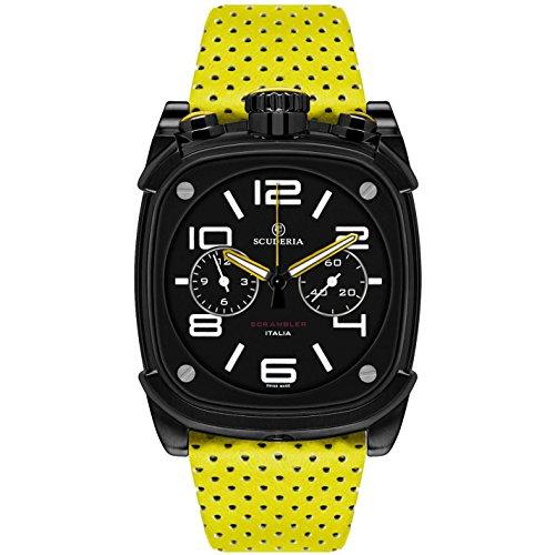 CT Scuderia Herren Armbanduhr Armband Leder Gelb Gehaeuse Vergoldetes Edelstahl Schweizer Quarz CS70118