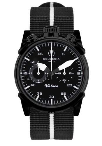 CT Scuderia-CS10112-015-Armbanduhr-Quarz Chronograph-Zifferblatt schwarz Armband Stoff schwarz