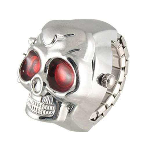 TOOGOO R Rot Augen-Schaedel-Entwurf Band-Quarz-Ring-Uhr