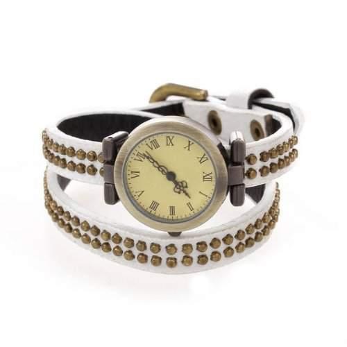 TOOGOO R Roemische Ziffern Leder Weisse Nieten Runde Quarz-Armbanduhr