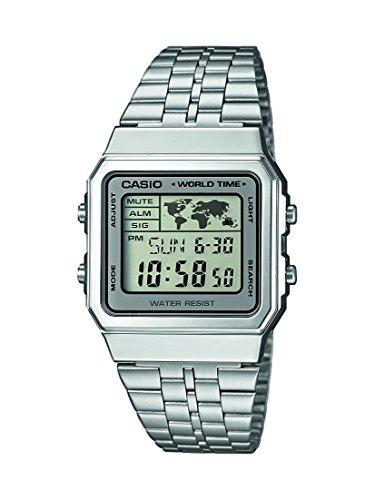 Casio Herren Digital mit Edelstahl Armbanduhr A500WEA7EF