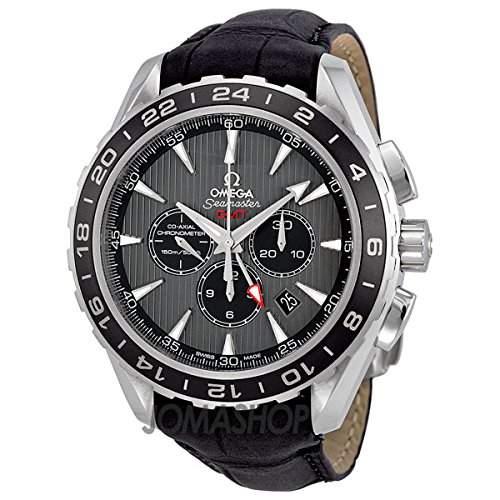 Omega Omega Seamaster Teak Grau Zifferblatt GMT Chronograph Schwarz Leder Mens Watch 23113445206001
