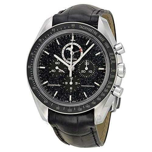 Omega Omega Speedmaster Chronograph Schwarz Zifferblatt Schwarz Leder Mens Watch 31133443201001