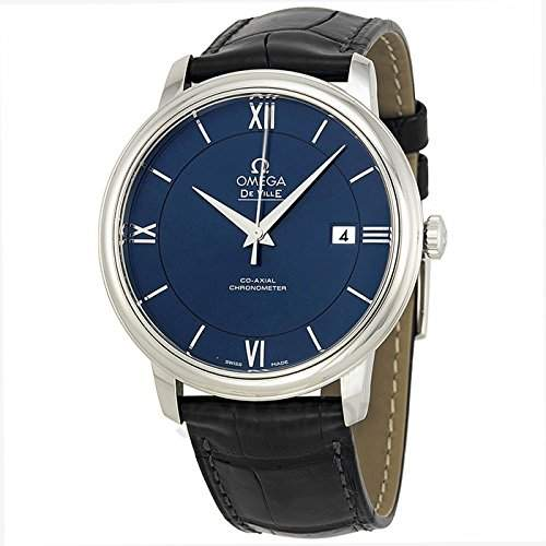 Omega Omega De Ville Prestige Blau Zifferblatt Schwarz LeDer Mens Watch 42413402003001