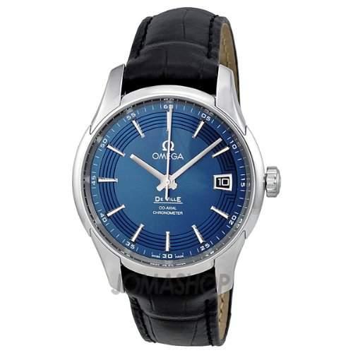 Omega Omega DeVille Blau Zifferblatt Schwarz Leder Mens Watch 43133412103001