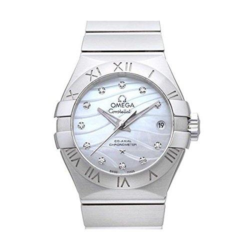 Omega Constellation Koaxialkabel 27 Damen Automatik Uhr mit Perlmutt Zifferblatt Analog Anzeige und Silber Edelstahl Armband 12310272055002