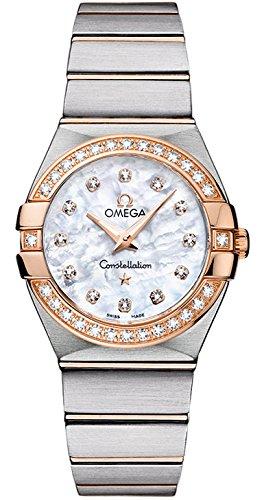 Omega Konstellation Diamant Damen Mutter Stahl Uhr Pearl Gold Rose Zifferblatt und der
