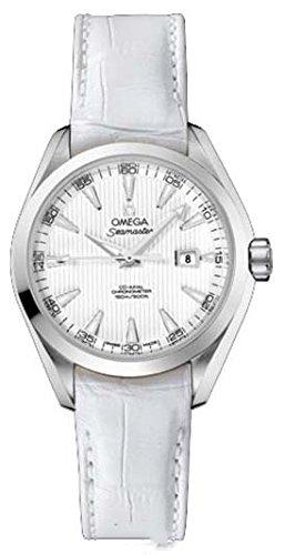 Omega Seamaster Aqua Terra Luxus Damen Automatik Uhr mit Perlmutt Zifferblatt Analog Anzeige und Weiss Lederband 23113342004001