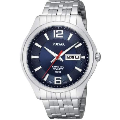 Pulsar Watches Mens Kinetic Blue Silver Watch