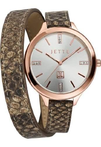 JETTE Time Damen-Armbanduhr Brazil Analog Quarz One Size, silberfarben, braun