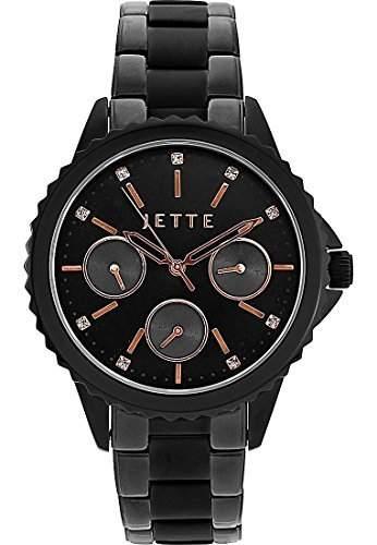 JETTE Time Damen-Armbanduhr Analog Quarz One Size, schwarzrosé, schwarz