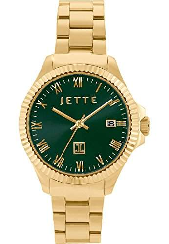 JETTE Time Damen-Armbanduhr Analog Quarz One Size, gruen, goldgruen